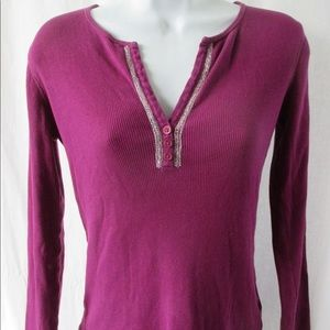 Jones New York Ribbed Y Neck Violet Shirt